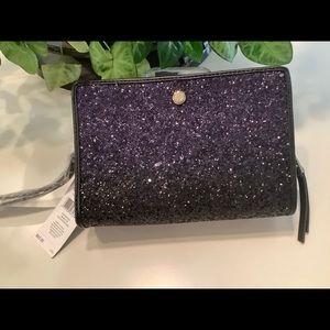 NINE WEST Bag Clutch Black Violet Sparkle  New